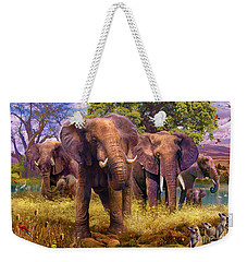 Elephants Weekender Tote Bag by Jan Patrik Krasny
