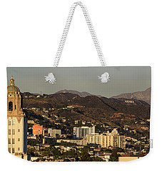 Elevated View Of A City, West Weekender Tote Bag by Panoramic Images