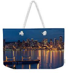 Elliott Bay Seattle Skyline Night Reflections  Weekender Tote Bag by Mike Reid