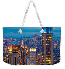 Empire State Blue Night Weekender Tote Bag by Inge Johnsson