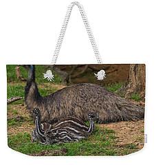 Emu And Chicks Weekender Tote Bag by Chris Flees