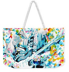 Eric Clapton - Watercolor Portrait Weekender Tote Bag by Fabrizio Cassetta