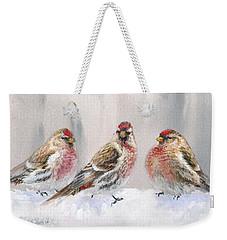 Snowy Birds - Eyeing The Feeder 2 Alaskan Redpolls In Winter Scene Weekender Tote Bag by Karen Whitworth