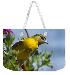 Female Baltimore Oriole In A Flower Basket Weekender Tote Bag by Christina Rollo