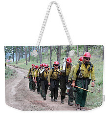 Weekender Tote Bag featuring the photograph Fire Crew Walks To Their Assignment On Myrtle Fire by Bill Gabbert