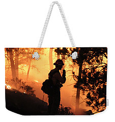 Weekender Tote Bag featuring the photograph Firefighter At Night On The White Draw Fire by Bill Gabbert