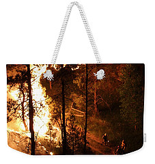 Weekender Tote Bag featuring the photograph Firefighters Burn Out On The White Draw Fire by Bill Gabbert