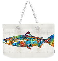 Fish Art Print - Colorful Salmon - By Sharon Cummings Weekender Tote Bag by Sharon Cummings