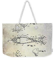 Fishing Lure Patent 1959 Weekender Tote Bag by Jon Neidert