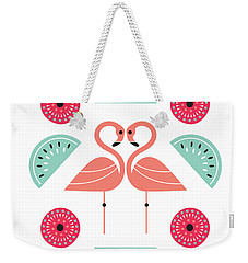 Flamingo Flutter Weekender Tote Bag by Susan Claire