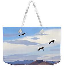 Flight Of The Sandhill Cranes Weekender Tote Bag by Mike  Dawson