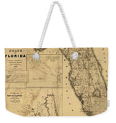 Florida Map Art - Vintage Antique Map Of Florida Weekender Tote Bag by World Art Prints And Designs