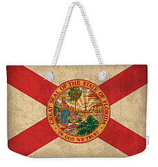 Florida State Flag Art On Worn Canvas Weekender Tote Bag by Design Turnpike