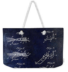 1922 Fly Fishing Lure Blue Weekender Tote Bag by Jon Neidert