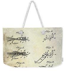 1922 Fly Fishing Lure Patent Drawing Weekender Tote Bag by Jon Neidert