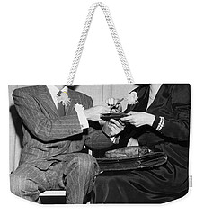Frank Sinatra Signs For Fan Weekender Tote Bag by Underwood Archives