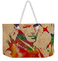 Frank Sinatra Watercolor Portrait On Worn Distressed Canvas Weekender Tote Bag by Design Turnpike