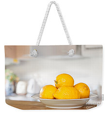 Freshly Picked Lemons Weekender Tote Bag by Amanda Elwell