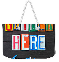 Friends Gather Here Recycled License Plate Art Lettering Sign Michigan Version Weekender Tote Bag by Design Turnpike
