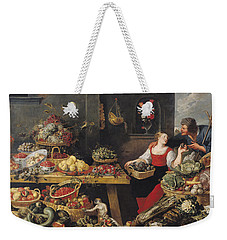 Fruit And Vegetable Market Oil On Canvas Weekender Tote Bag by Frans Snyders