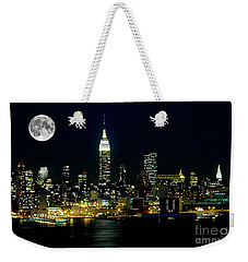 Full Moon Rising - New York City Weekender Tote Bag by Anthony Sacco