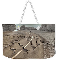 Geese Crossing Weekender Tote Bag by Jane Linders