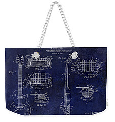 Gibson Les Paul Patent Drawing Blue Weekender Tote Bag by Jon Neidert