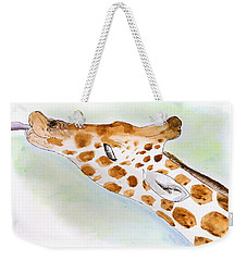 Giraffe With Tongue Out Weekender Tote Bag by Pati Photography