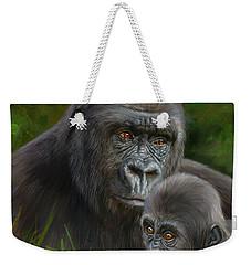 Gorilla And Baby Weekender Tote Bag by David Stribbling