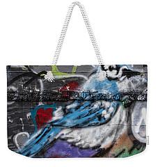 Graffiti Bluejay Weekender Tote Bag by Carol Leigh