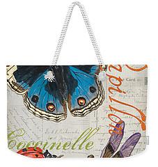 Grey Postcard Butterflies 4 Weekender Tote Bag by Debbie DeWitt