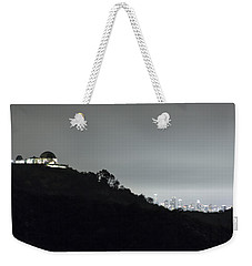 Griffith Park Observatory And Los Angeles Skyline At Night Weekender Tote Bag by Belinda Greb