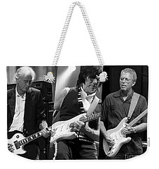 Guitar Legends Jimmy Page Jeff Beck And Eric Clapton Weekender Tote Bag by Marvin Blaine