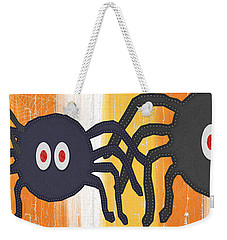 Halloween Spiders Sign Weekender Tote Bag by Linda Woods
