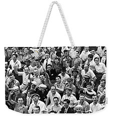 Happy Baseball Fans In The Bleachers At Yankee Stadium. Weekender Tote Bag by Underwood Archives