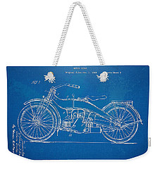 Harley-davidson Motorcycle 1924 Patent Artwork Weekender Tote Bag by Nikki Marie Smith