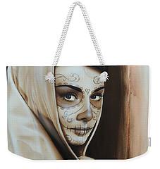Audrey Hepburn - ' Hepburn De Los Muertos ' Weekender Tote Bag by Christian Chapman Art