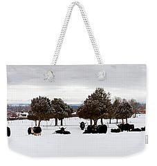 Herd Of Yaks Bos Grunniens On Snow Weekender Tote Bag by Panoramic Images