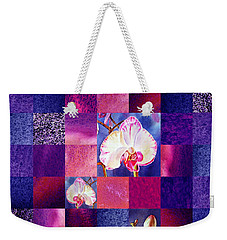 Hidden Orchids Squared Abstract Design Weekender Tote Bag by Irina Sztukowski