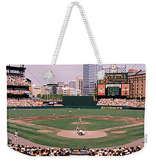 High Angle View Of A Baseball Field Weekender Tote Bag by Panoramic Images