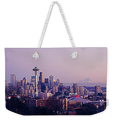 High Angle View Of A City At Sunrise Weekender Tote Bag by Panoramic Images