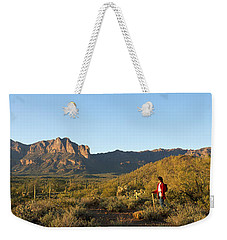 Hiker Standing On A Hill, Phoenix Weekender Tote Bag by Panoramic Images