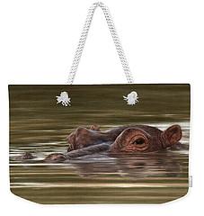 Hippo Painting Weekender Tote Bag by Rachel Stribbling