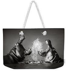 Hippo's Fighting Weekender Tote Bag by Johan Swanepoel