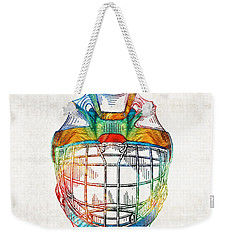 Hockey Art - Goalie Mask Patent - Sharon Cummings Weekender Tote Bag by Sharon Cummings