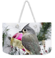 Holiday Cheer With A Titmouse Weekender Tote Bag by Christina Rollo