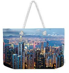 Hong Kong At Dusk Weekender Tote Bag by Dave Bowman