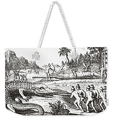 Hunting Alligators In The Southern States Of America Weekender Tote Bag by Theodor de Bry