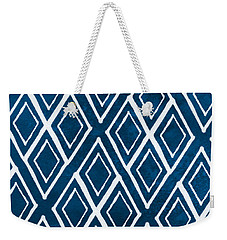Indgo And White Diamonds Large Weekender Tote Bag by Linda Woods