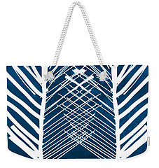 Indigo And White Leaves- Abstract Art Weekender Tote Bag by Linda Woods